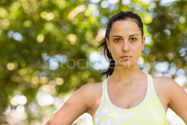 Focused athletic brunette in the park Stock photo © wavebreak_media