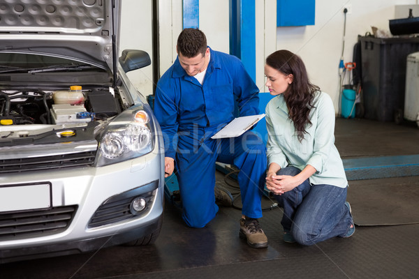 Mechanic showing customer the problem with car Stock photo © wavebreak_media