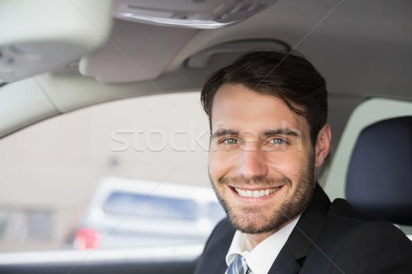 бизнесмен сидят сиденье автомобилей бизнеса счастливым Сток-фото © wavebreak_media