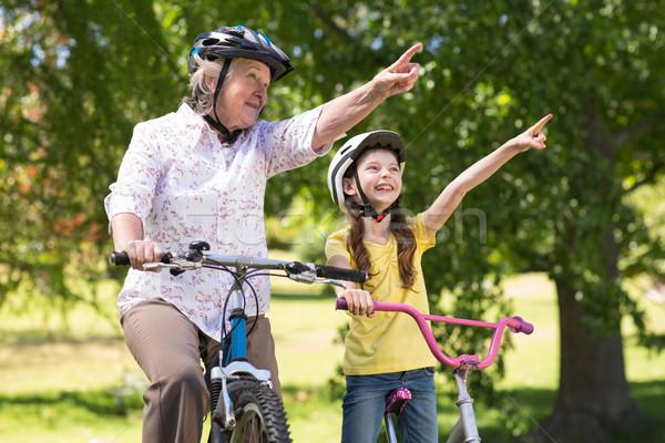 Mutlu büyükanne torun bisiklet doğa Stok fotoğraf © wavebreak_media