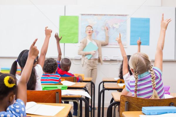 Mano geografía lección aula escuela primaria Foto stock © wavebreak_media
