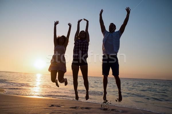 Zdjęcia stock: Grupy · znajomych · plaży · kobieta · szczęśliwy