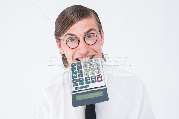 Mosolyog üzletember harap számológép fehér portré Stock fotó © wavebreak_media