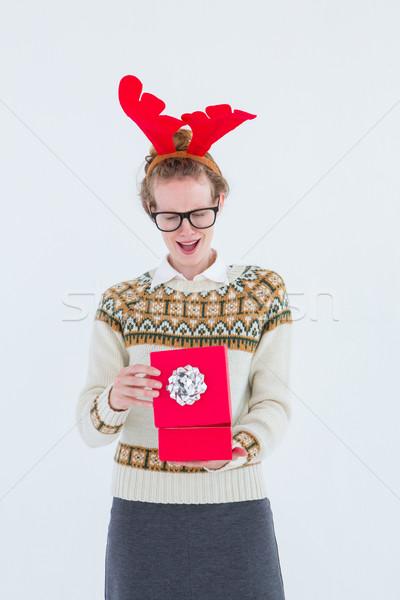 Meglepődött hipszter nyitás ajándék fehér portré Stock fotó © wavebreak_media