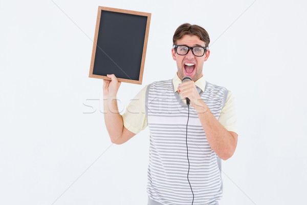 Lousa cantando microfone branco Foto stock © wavebreak_media
