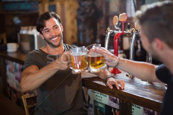 笑みを浮かべて 男 ビール マグ 男性 ストックフォト © wavebreak_media