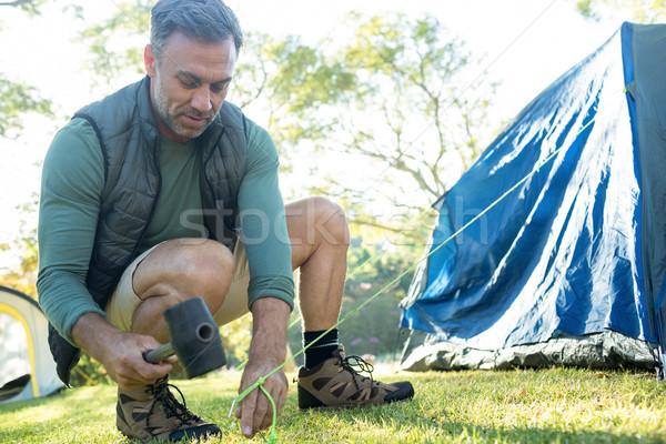 Człowiek w górę namiot drzewo żywności Zdjęcia stock © wavebreak_media