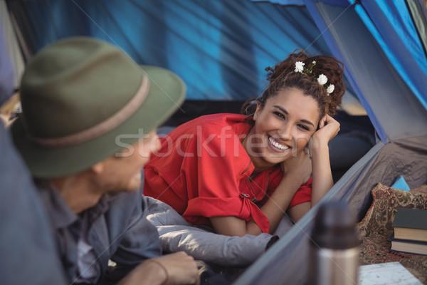 Mutlu çift rahatlatıcı çadır orman Stok fotoğraf © wavebreak_media
