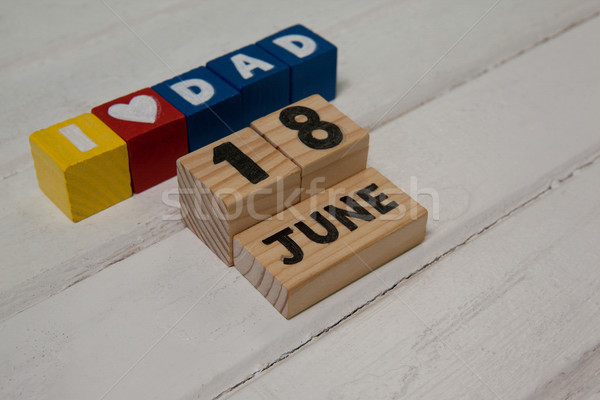 High angle view of cube shapes with text by calender date Stock photo © wavebreak_media