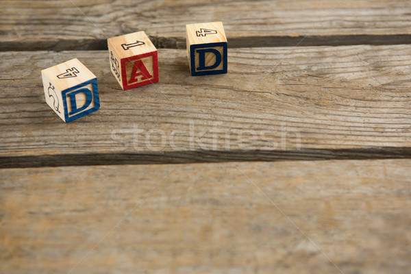 High angle view of wooden cubes with text and numbers Stock photo © wavebreak_media