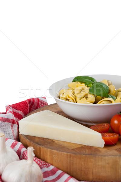 Photo stock: Pâtes · fromages · tomates · ail · serviette · drap