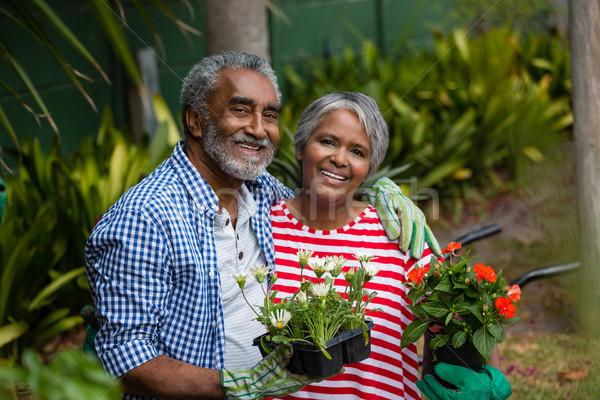 Portré mosolyog idős pár áll együtt udvar Stock fotó © wavebreak_media