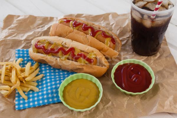 Hot dog kaltes Getränk Packpapier Platte Fleisch Stock foto © wavebreak_media