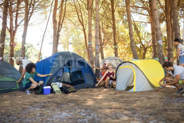 друзей вверх палатки лес Сток-фото © wavebreak_media