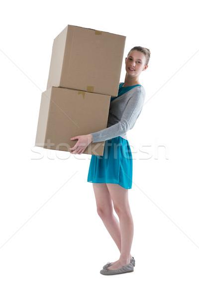 Adolescente nina pesado cajas Foto stock © wavebreak_media
