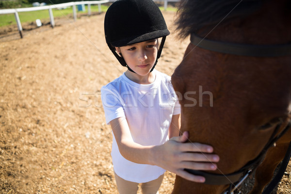 Girl caressing the white horse in the ranch Stock photo © wavebreak_media