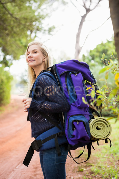 Smiling female hiker waiting by the side of the road Stock photo © wavebreak_media
