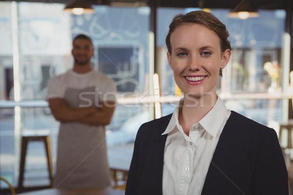 Portre kadın sahip garson kafe gülen Stok fotoğraf © wavebreak_media