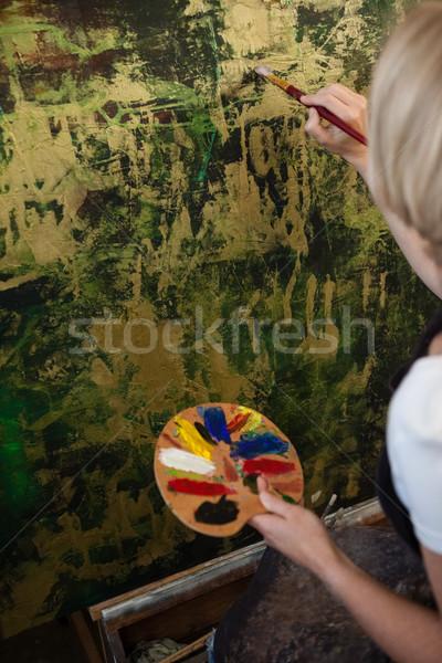 Attentif femme peinture toile dessin classe Photo stock © wavebreak_media