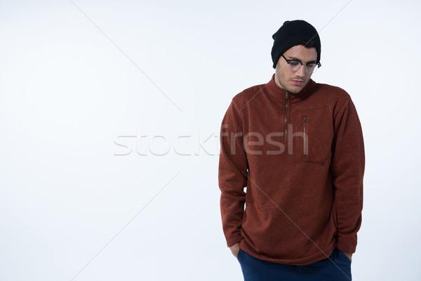 Homem em pé branco deprimido teia triste Foto stock © wavebreak_media