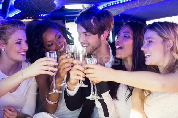 Gelukkig vrienden drinken champagne limousine vrouw Stockfoto © wavebreak_media
