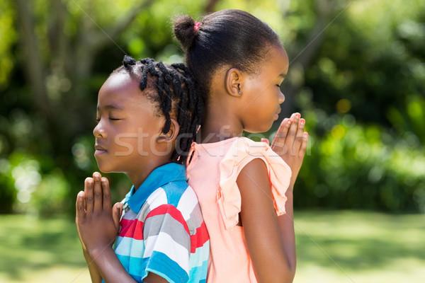 Giovani bambini pensare parco erba felice Foto d'archivio © wavebreak_media
