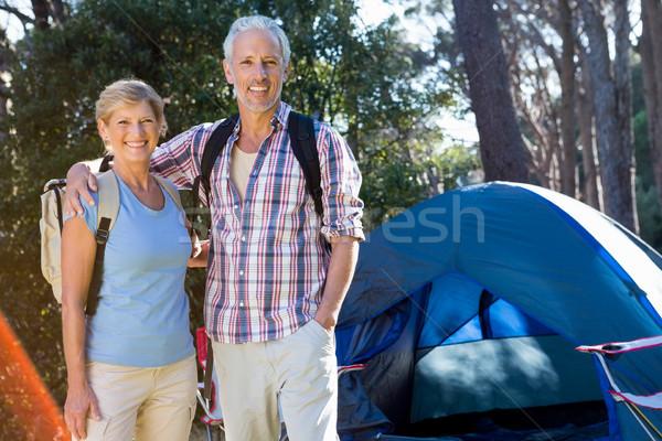 senior couple standing beside their tent Stock photo © wavebreak_media
