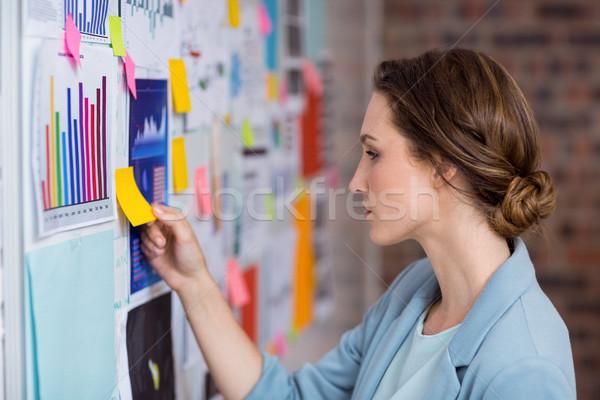 Businesswoman putting sticky notes on whiteboard Stock photo © wavebreak_media