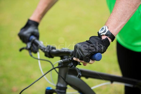 男性 アスレチック 立って マウンテンバイク 公園 ストックフォト © wavebreak_media