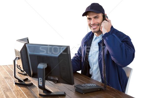 Mutlu güvenlik subay konuşma telefon Stok fotoğraf © wavebreak_media