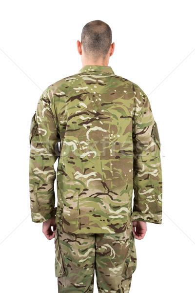 вид сзади солдата Постоянный белый человека счастливым Сток-фото © wavebreak_media
