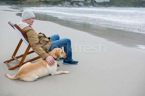 Man pampering dog while sitting on chair Stock photo © wavebreak_media