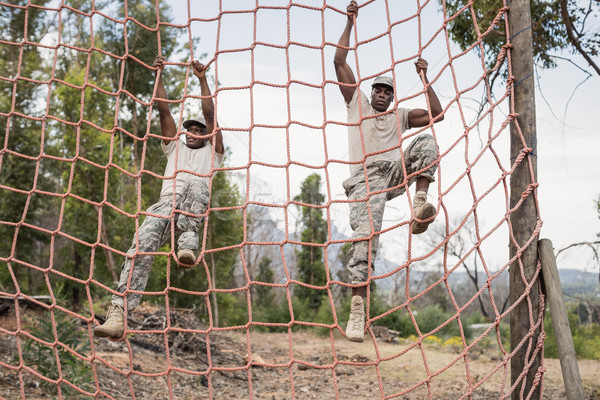 Military soldiers climbing a net during obstacle course Stock photo © wavebreak_media