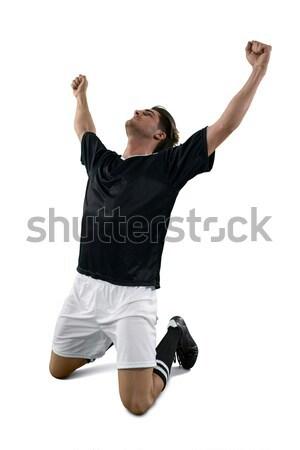 Foto stock: Futbolista · victoria · negro · éxito · jóvenes