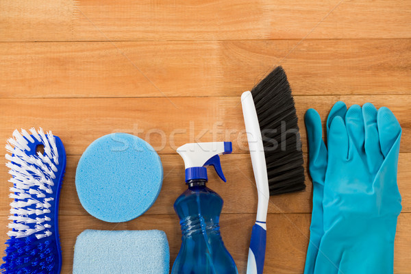 Overhead view of different cleaning equipment on table Stock photo © wavebreak_media