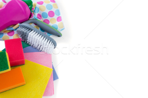 High angle view of wipe pads with brush Stock photo © wavebreak_media
