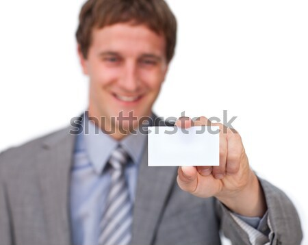 Attractive Businessman showing a business card  Stock photo © wavebreak_media