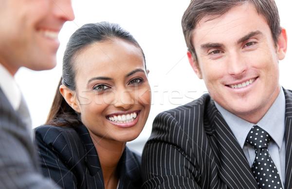 Stockfoto: Gelukkig · zakenlieden · geïsoleerd · witte · portret · ruimte