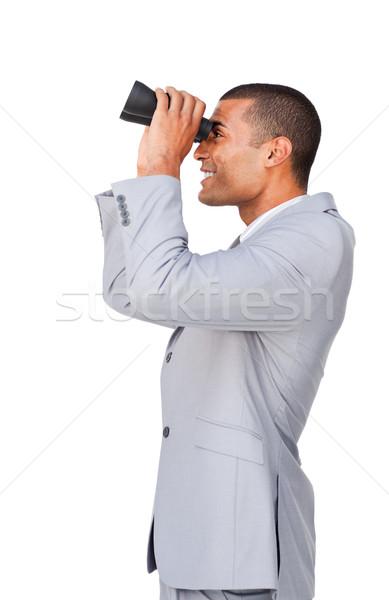 Fiatal üzletember látcső fehér férfi boldog Stock fotó © wavebreak_media