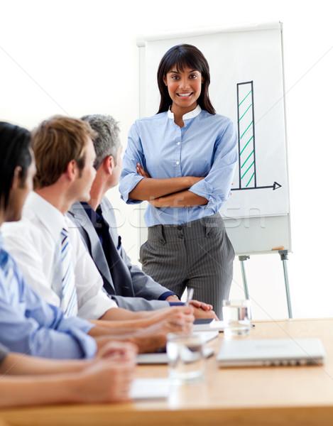 Assertive ethnic businesswoman doing a presentation to her team  Stock photo © wavebreak_media