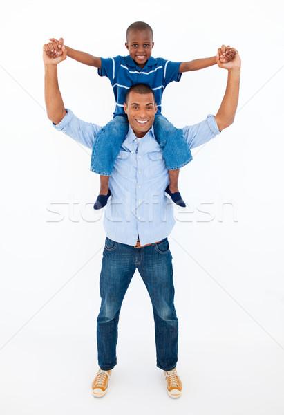 Dad giving son piggyback ride Stock photo © wavebreak_media