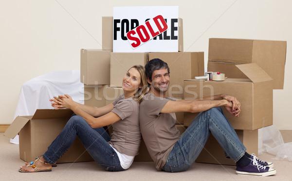 жена муж расслабляющая полу коробки Сток-фото © wavebreak_media