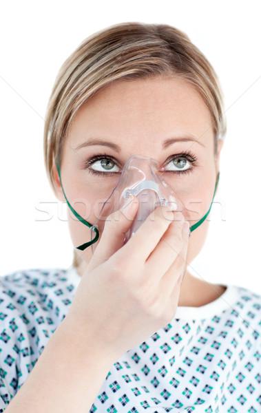 Niezdrowy kobieta maska tlenowa serca przestrzeni Zdjęcia stock © wavebreak_media