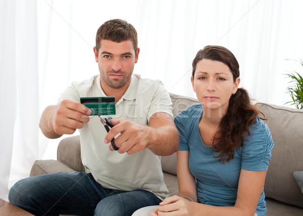 Aggódó pár vág hitelkártya együtt ül Stock fotó © wavebreak_media