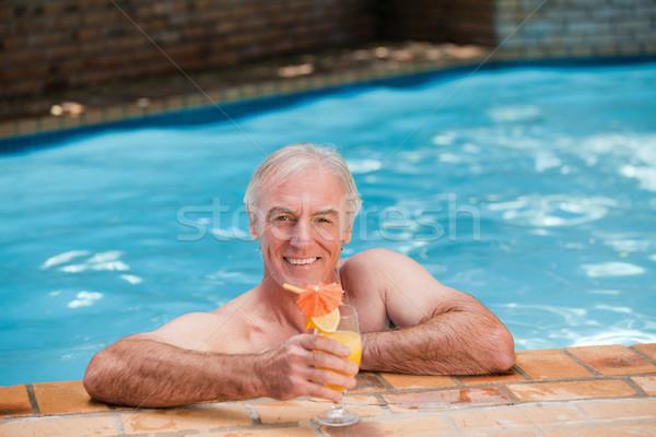 Idős férfi úszómedence boldog nap medence Stock fotó © wavebreak_media