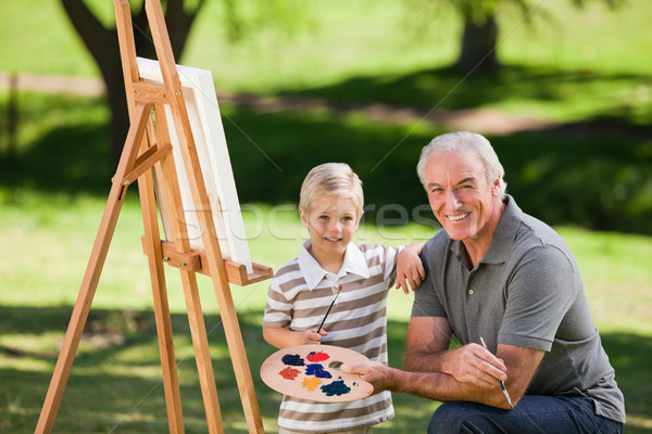 Grandfather and his grandson painting Stock photo © wavebreak_media