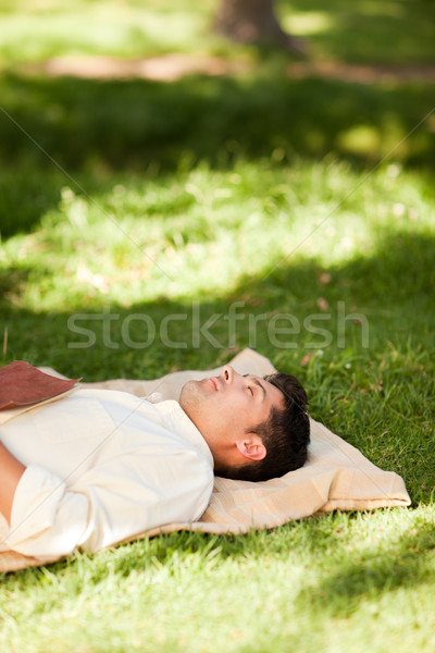 Man lying in the park with his book Stock photo © wavebreak_media