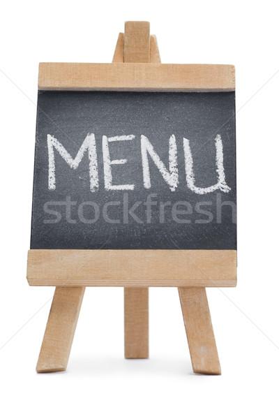 Pizarra palabra menú escrito aislado blanco Foto stock © wavebreak_media