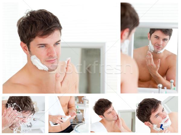 Collage jonge man hand schoonheid badkamer jonge Stockfoto © wavebreak_media