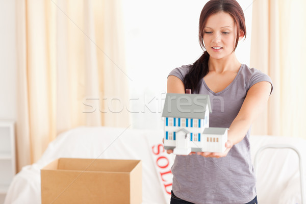 Mulher jovem modelo casa sala de estar negócio sorrir Foto stock © wavebreak_media